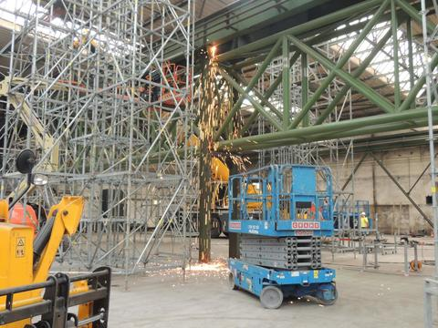 Welding of truss to existing steel structure